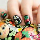 Осенняя роспись ногтей под хохлому