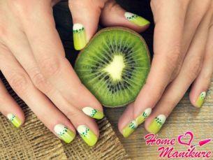 Тропическое киви в дизайне ногтей