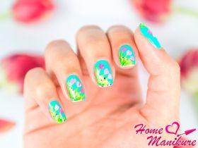 Нежный дизайн ногтей с тюльпанами