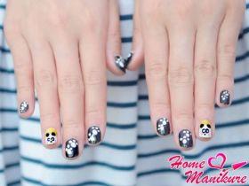 Как нарисовать на ногтях панду?