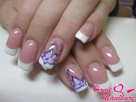 шикарная роспись ногтей френч с бабочками