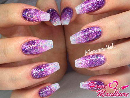 блестящие ногти балерина