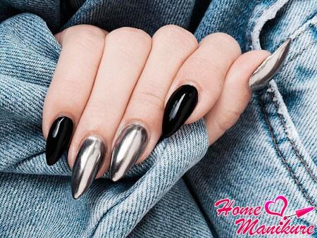 черно-серебряный маникюр