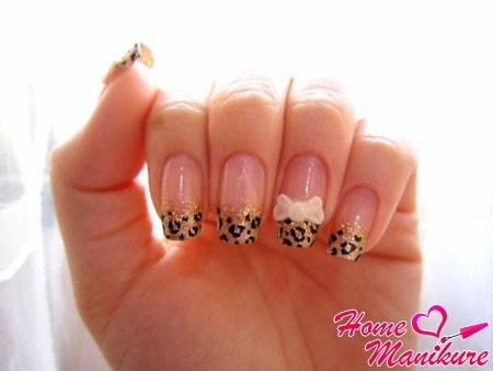 французский маникюр леопард
