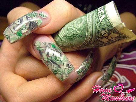 долларовый дизайн ногтей
