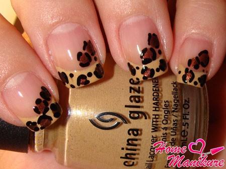 французский маникюр в стиле леопарда