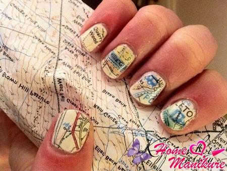 карта города на ногтях