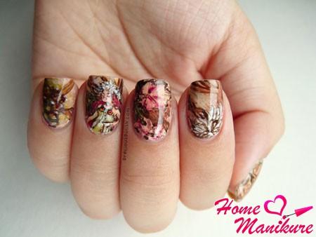красивая осенняя роспись на ногтях