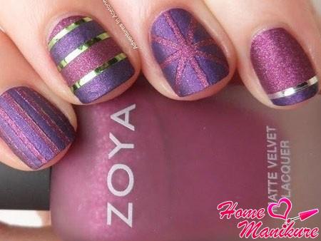 модный матовый дизайн с помощью лака Zoya