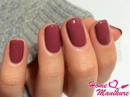 монотонные ногти на осень