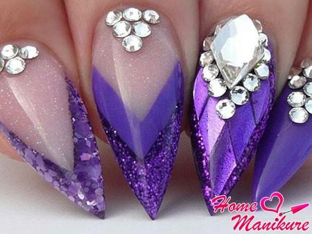 нарощенные сиреневые ногти