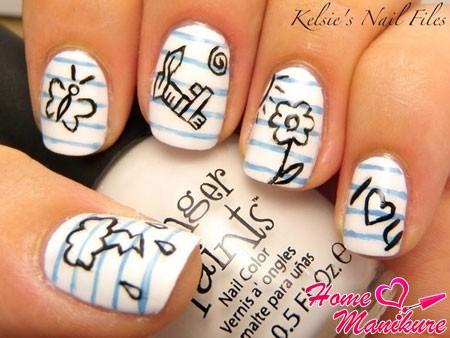 ногти в стиле рисунков в тетради