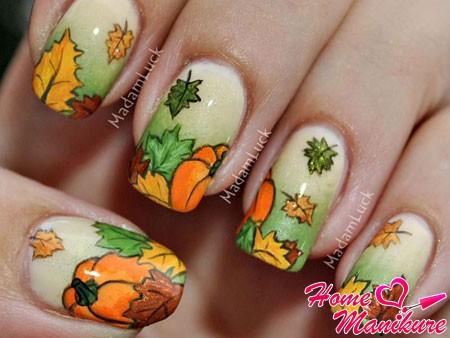 оригинальный дизайн ногтей с тыквами