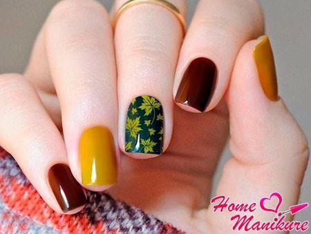 разноцветные ногти с принтом