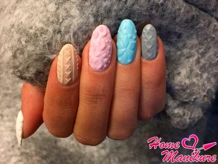разноцветные объемные ногти