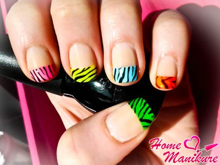 разноцветным французский маникюр с принтом зебры