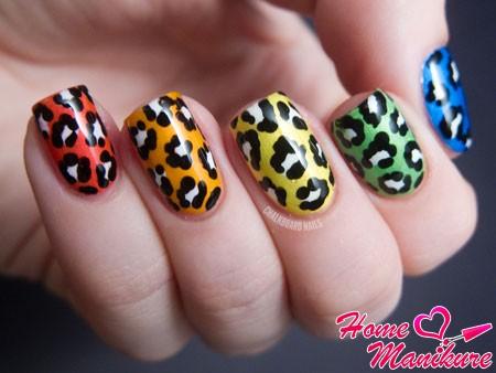 разноцветные леопардовые ногти