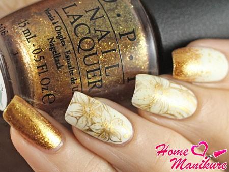 роскошный дизайн ногтей с золотом