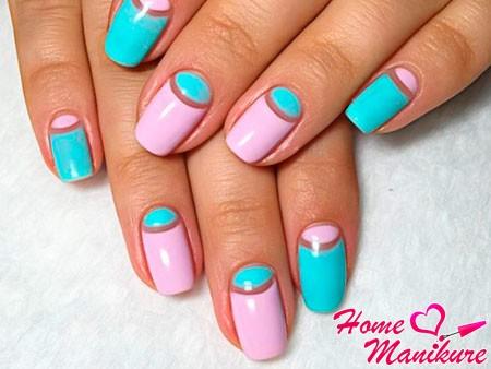 розово-голубые ногти
