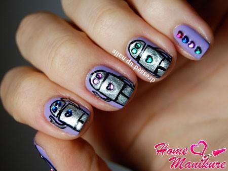 стеклянные сердечки на ногтях