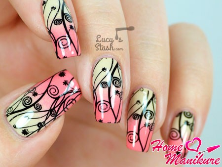 стемпинг дизайн на ногтях омбре