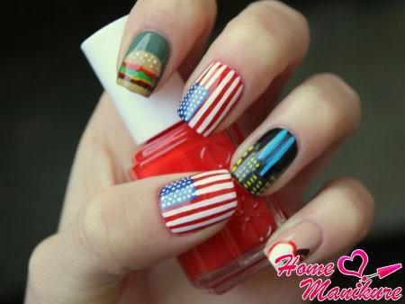 стильный маникюр с флагом USA