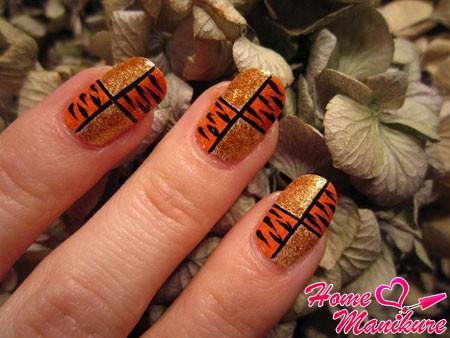 тигровый нейл арт с блестками