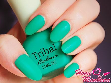 яркий изумрудный цвет ногтей