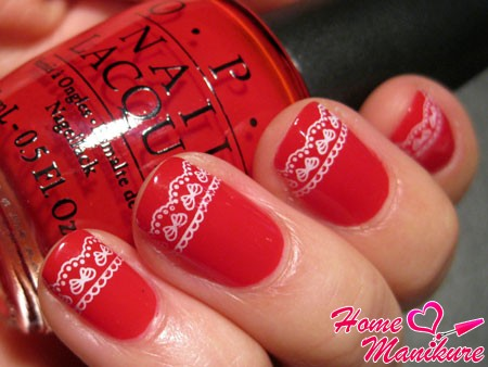 stamping white lace on red nails