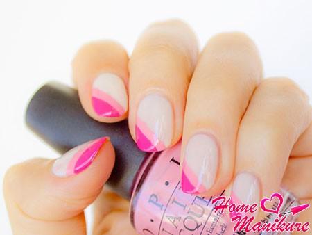 диагональный френч с двойной розовой улыбкой
