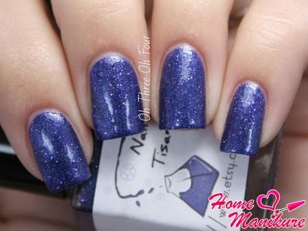 дизайн ногтей на праздник под синее платье