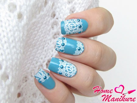 elegant lace nail art with rhinestones