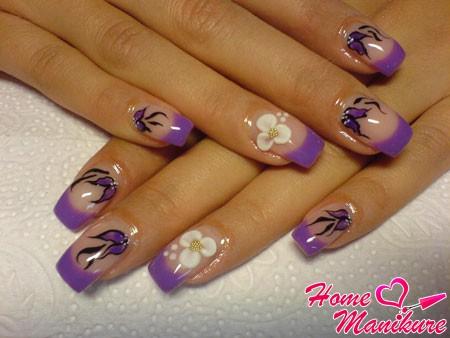 фиолетовый френч с рисунками и лепкой