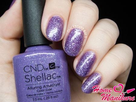 фиолетовый глиттерный шеллак