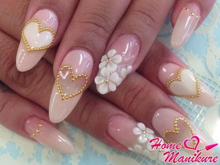 гелевая композиция на нарощенных ногтях