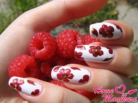 красивый цветочный шеллак дизайн ногтей