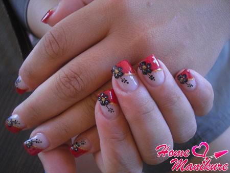 красный французский маникюр с цветами