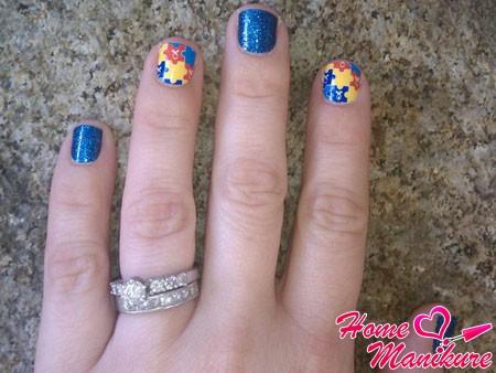 маленькие ногти в мозаичном стиле