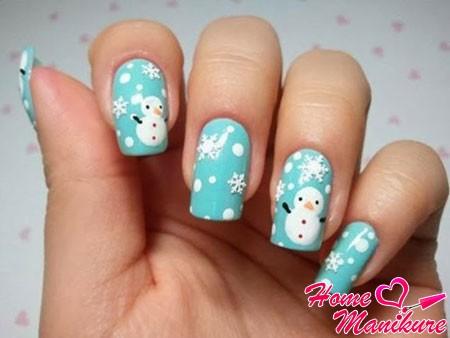 маникюр на новый год со снеговиками