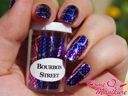 маникюр с фольгой bourbon street