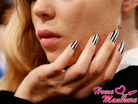 trendy black and white nail design 2014