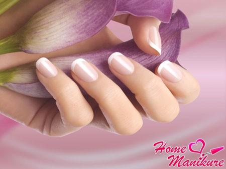нежный французский маникюр на коротких ногтях