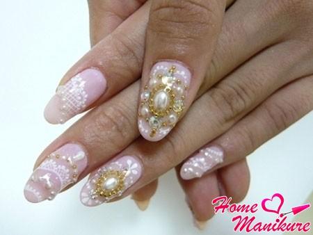 объемный свадебный дизайн ногтей