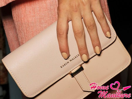 pastel manicure on hands of the model