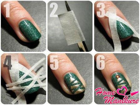пошаговый дизайн ногтей с новогодней елкой
