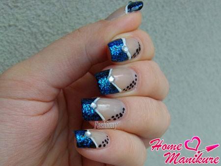 синий френч с двойной улыбкой шеврон
