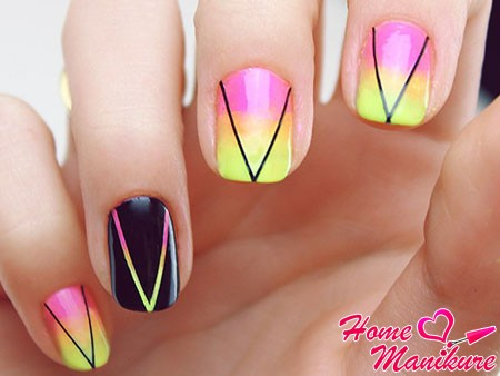 Ombre stylish manicure with stripes