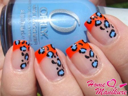 ярко-оранжевый френч с леопардовым принтом