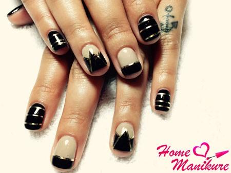 черно-белые ногти с золотом