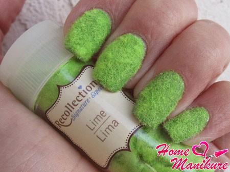 бархатные ногти салатового цвета